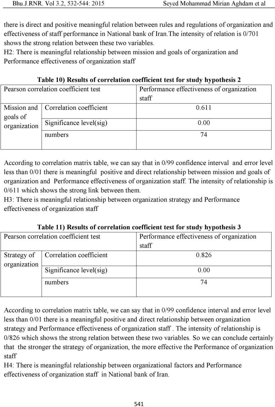 H2: There is meaningful relationship between mission and goals of organization and Performance effectiveness of organization Table 10) Results of correlation coefficient test for study hypothesis 2