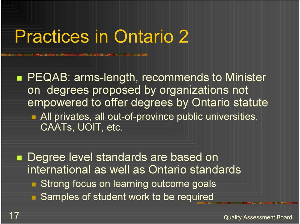 offer degrees by Ontario statute!