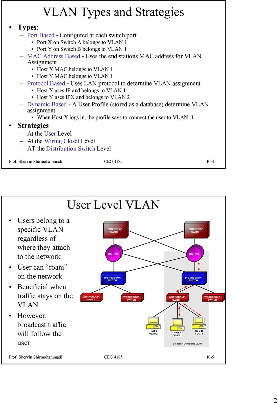 Based - A User Profile (stored as a database) determine VLAN assignment When Host X logs in, the profile says to connect the user to Strategies: At the User Level At the Wiring Closet Level AT the