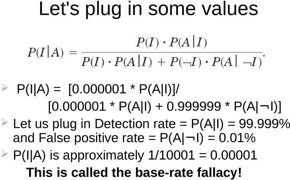 999999 * P(A I)] Let us plug in Detection rate = P(A I) = 99.