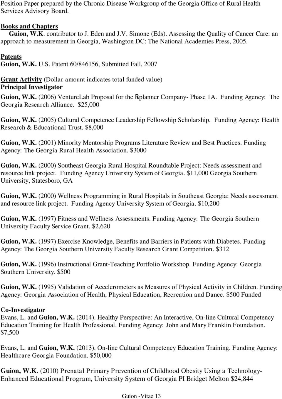 Funded Programs, Activities and Research