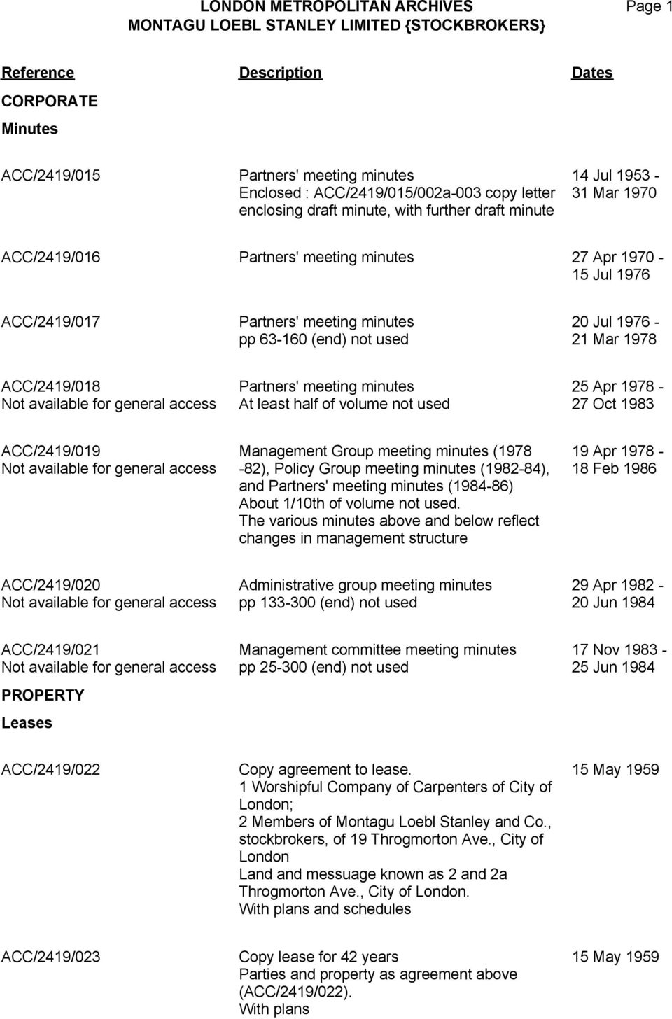 volume not used 25 Apr 1978-27 Oct 1983 ACC/2419/019 Management Group meeting minutes (1978-82), Policy Group meeting minutes (1982-84), and Partners' meeting minutes (1984-86) About 1/10th of volume