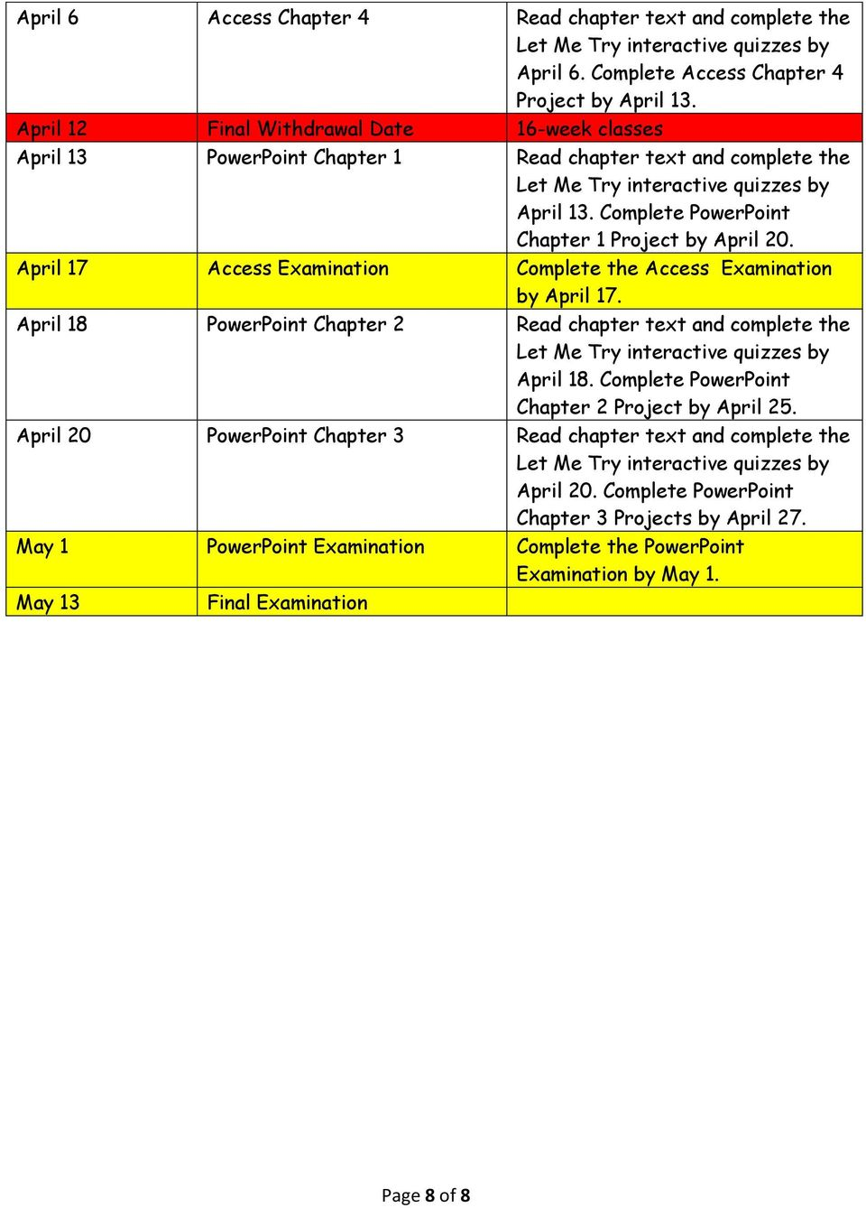 April 17 Access Examination Complete the Access Examination by April 17. April 18 PowerPoint Chapter 2 Read chapter text and complete the April 18.