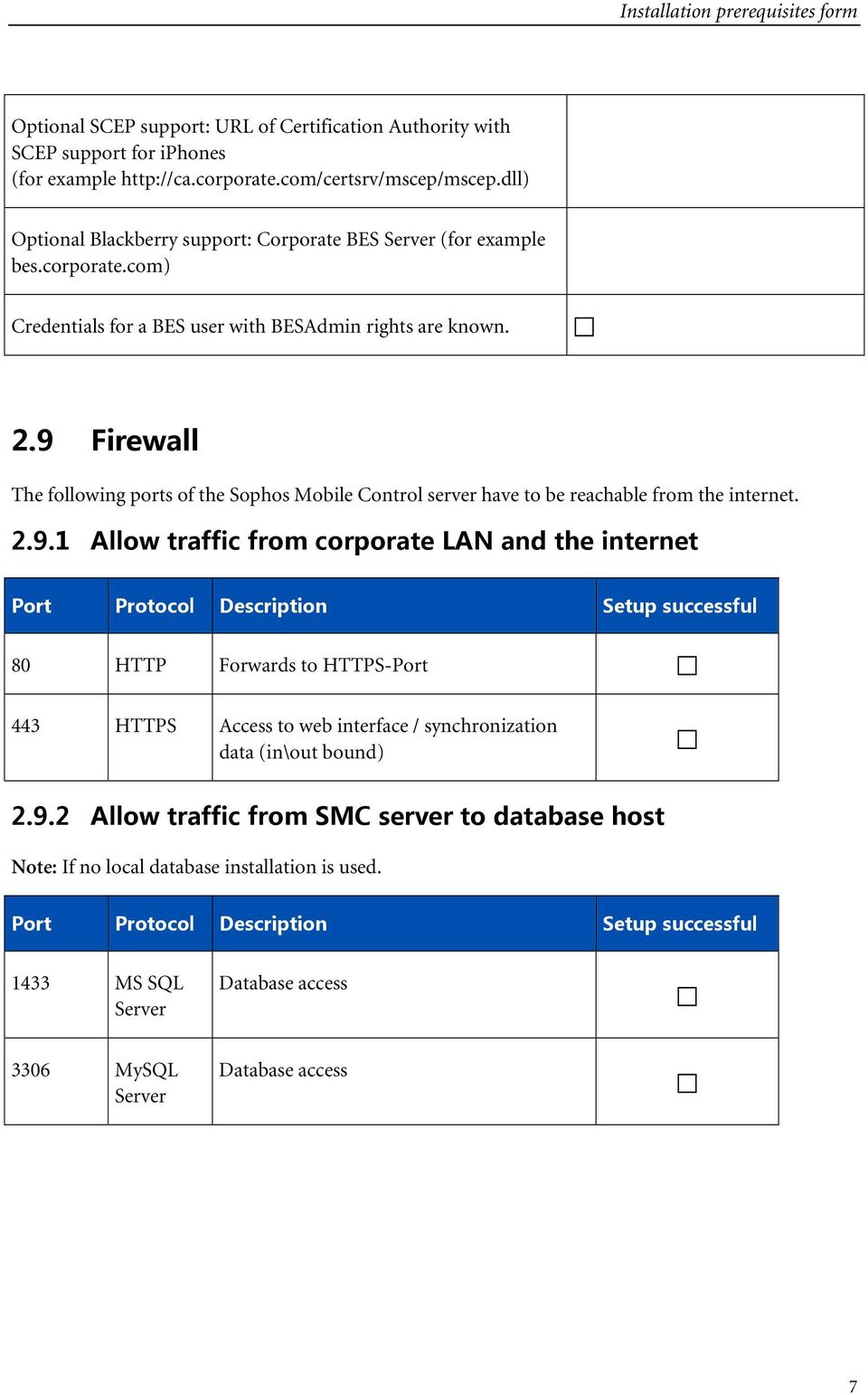 9 Firewall The following ports of the Sophos Mobile Control server have to be reachable from the internet. 2.9.1 Allow traffic from corporate LAN and the internet 80 HTTP Forwards to HTTPS-Port 443 HTTPS Access to web interface / synchronization data (in\out bound) 2.