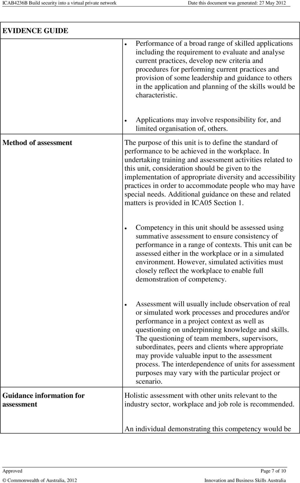 Method of assessment Applications may involve responsibility for, and limited organisation of, others.