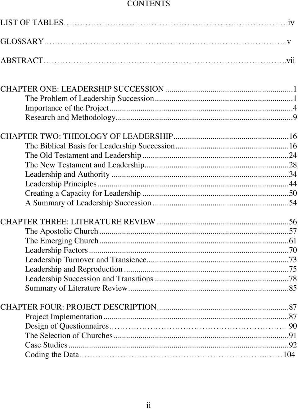 Leadership succession a contingency plan for the independent church