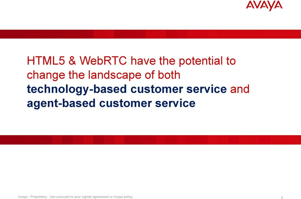 and agent-based customer service Avaya - Proprietary.