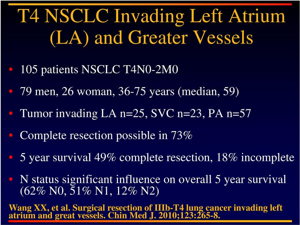 complete resection, 18% incomplete N status significant influence on overall 5 year survival (62% N0, 51% N1, 12%