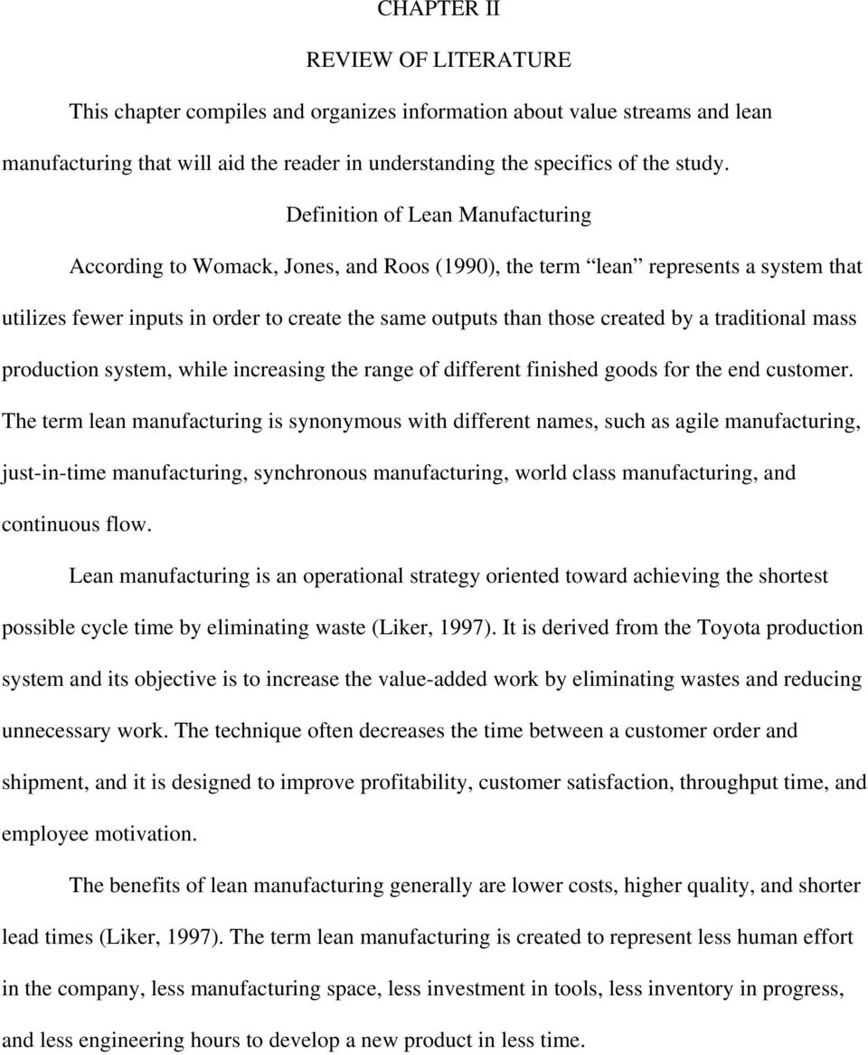 Research paper on lean manufacturing