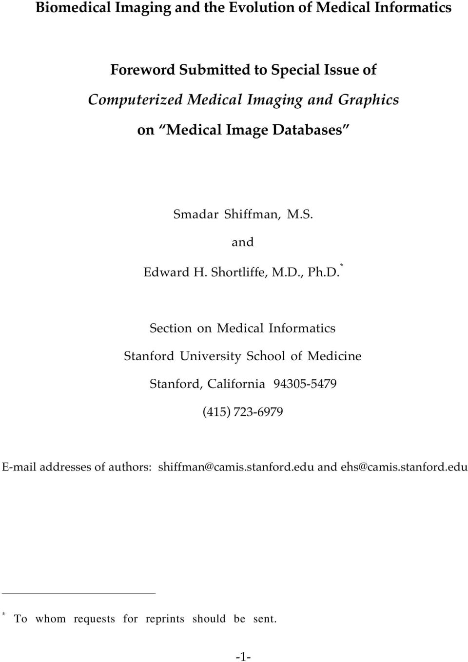 tabases Smadar Shiffman, M.S. and Edward H. Shortliffe, M.D.
