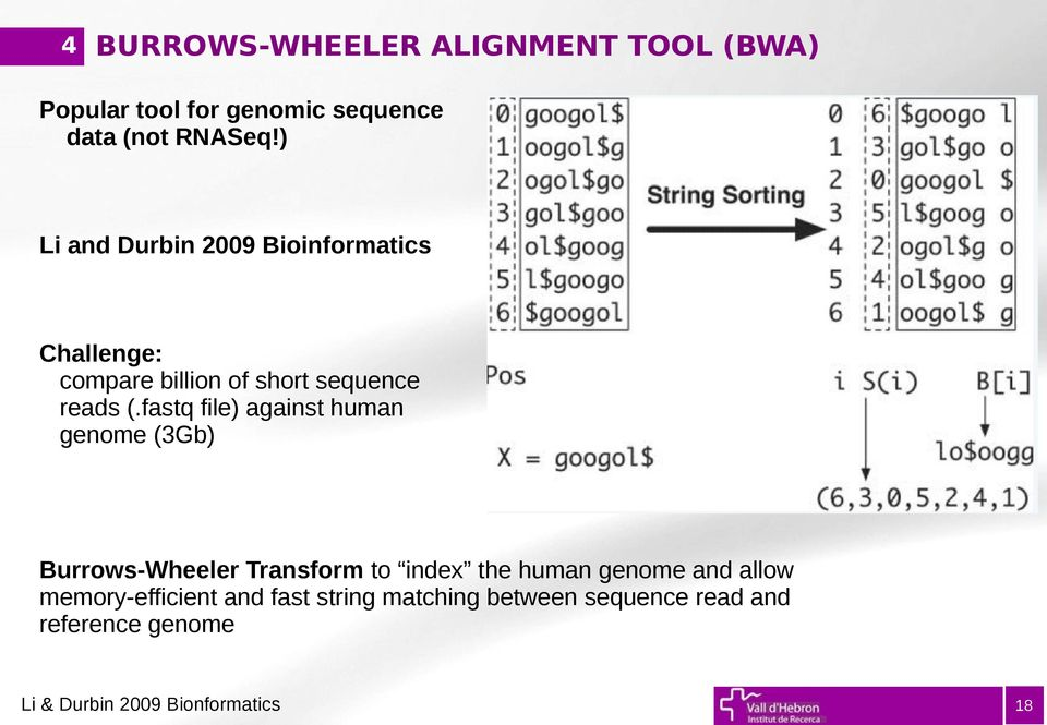 fastq file) against human genome (3Gb) Burrows-Wheeler Transform to index the human genome and