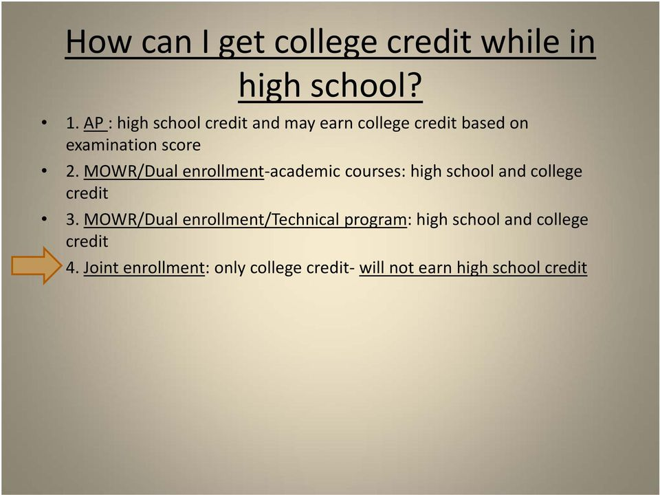MOWR/Dual enrollment academic courses: high school and college credit 3.