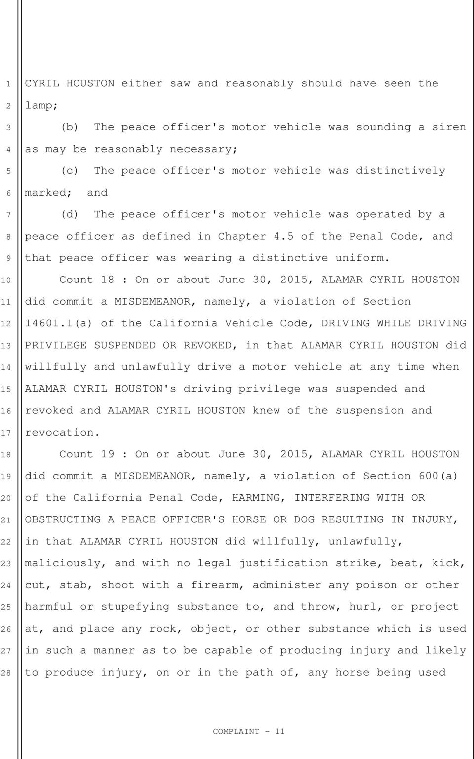 Count 1 : On or about June 0,, ALAMAR CYRIL HOUSTON did commit a MISDEMEANOR, namely, a violation of Section 01.