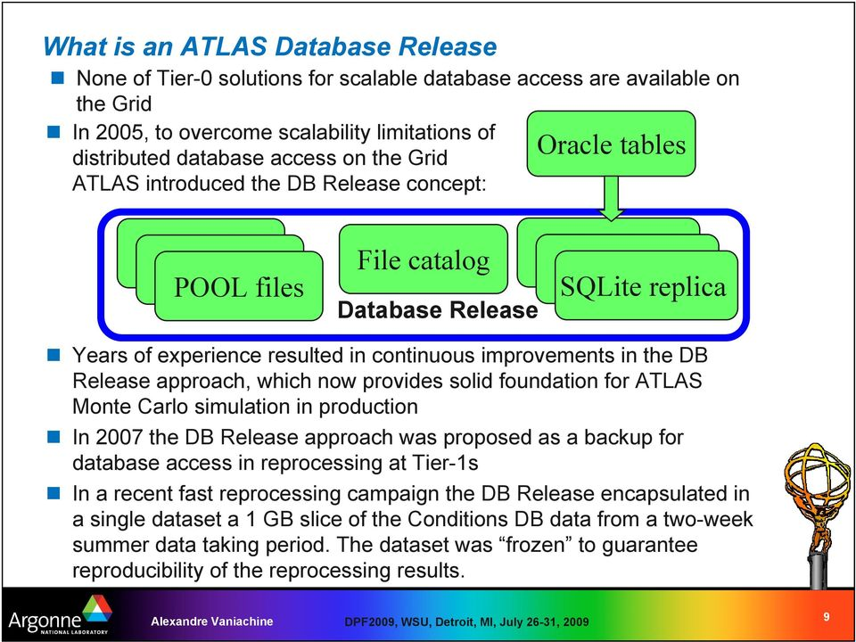 which now provides solid foundation for ATLAS Monte Carlo simulation in production In 2007 the DB Release approach was proposed as a backup for database access in reprocessing at Tier-1s In a recent