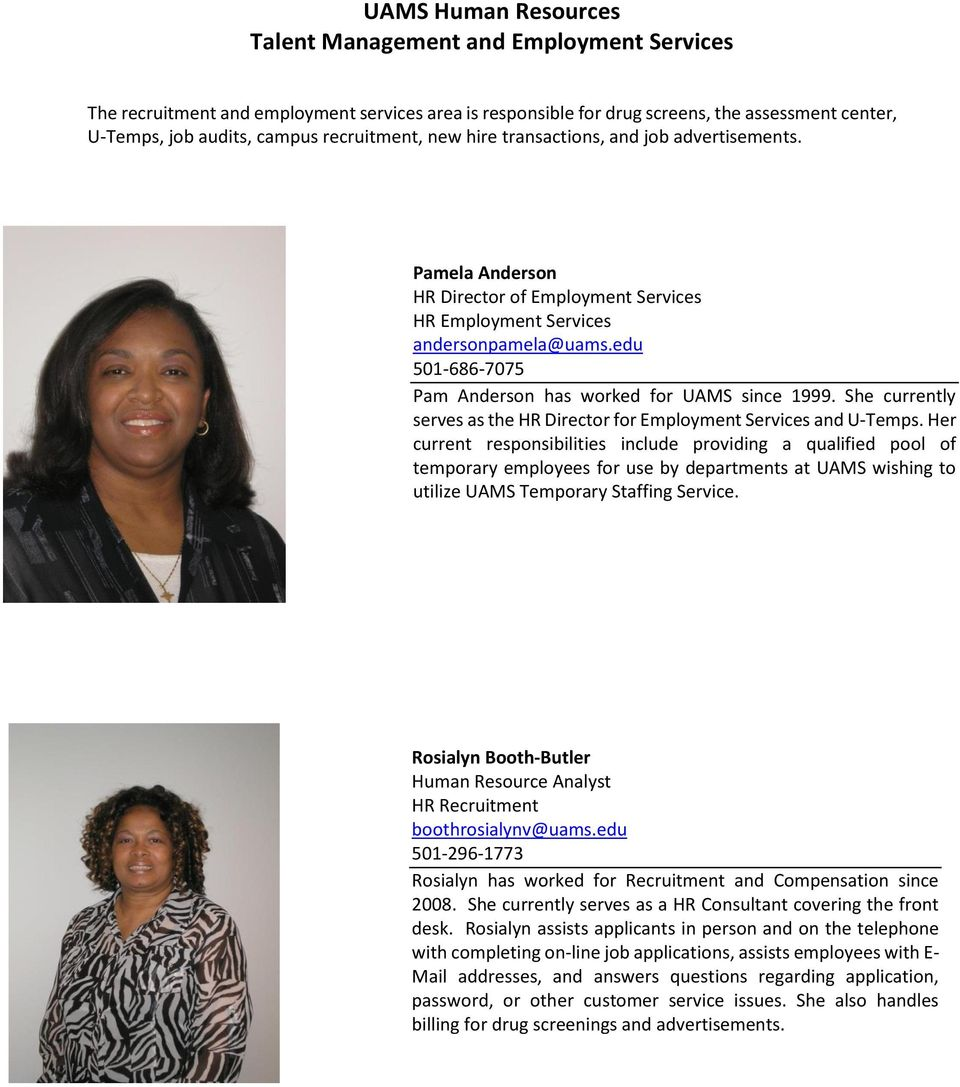 UAMS Human Resources Talent Management and Employment