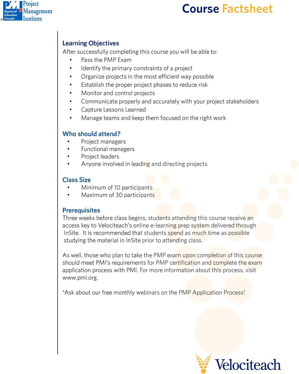Velociteach S 3 Day Pmp Exam Prep Course Factsheet 35 Hours Of