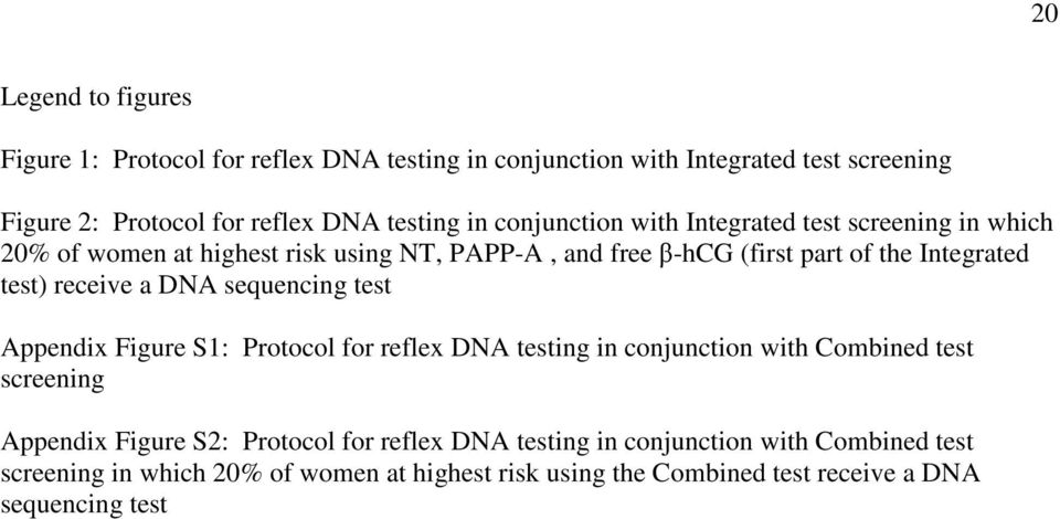 receive a DNA sequencing test Appendix Figure S1: Protocol for reflex DNA testing in conjunction with Combined test screening Appendix Figure S2: Protocol