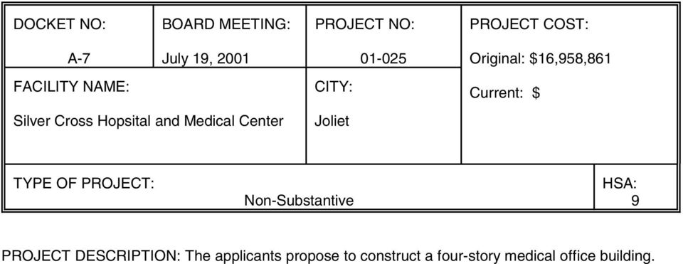and Medical Center Joliet TYPE OF PROJECT: Non-Substantive HSA: 9 PROJECT