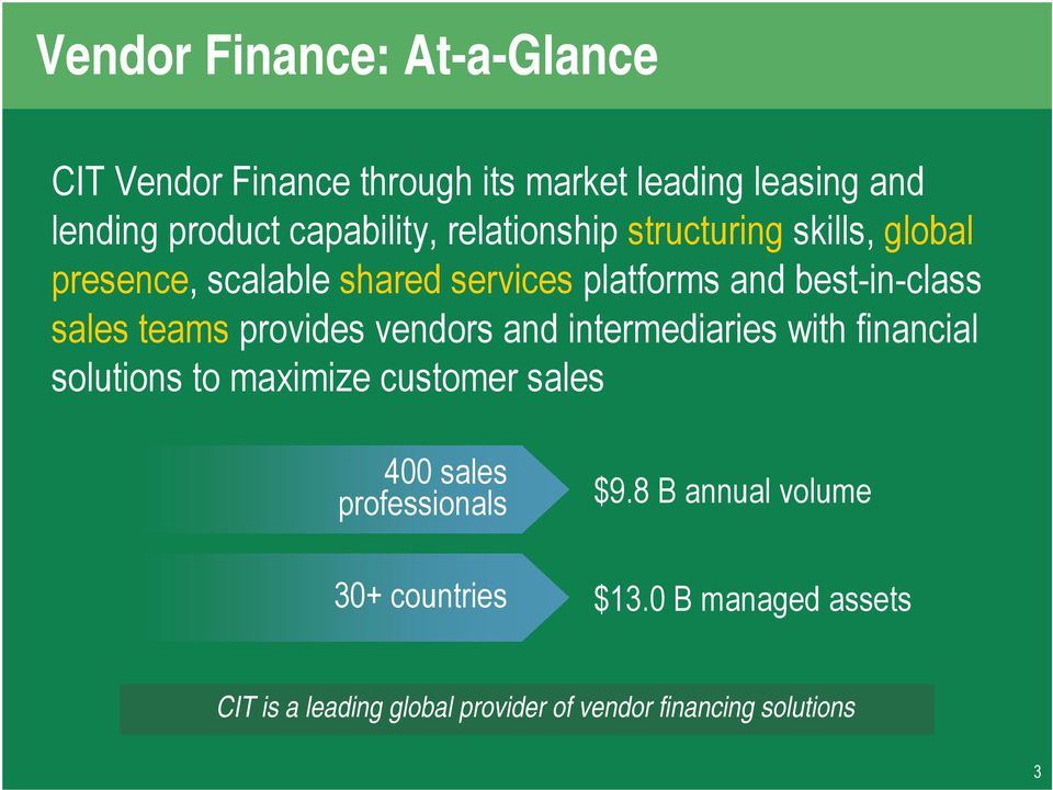 provides vendors and intermediaries with financial solutions to maximize customer sales 400 sales professionals $9.