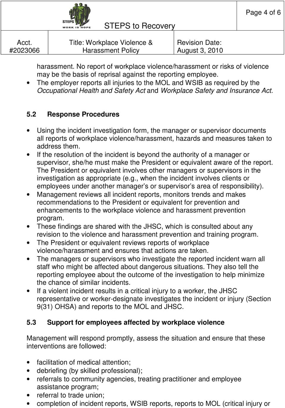 Steps to recovery title workplace violence harassment for Workplace violence and harassment risk assessment template