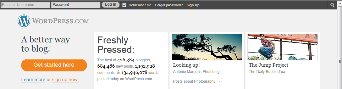 Starting Your Blog For New Users Signing up for your first WordPress blog is easy. Just go to http://wordpress.