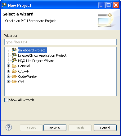 2. Create a new project a. From the CodeWarrior IDE menu bar, select File > New > Project the New Project dialog box appears. New Project Dialog Box b.
