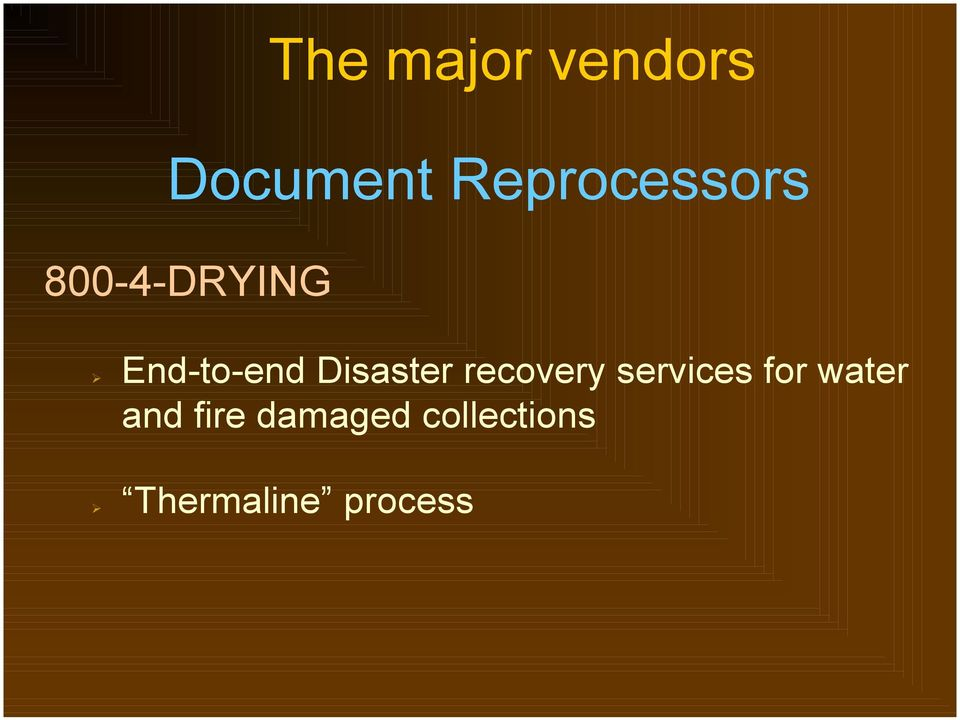 End-to-end Disaster recovery services