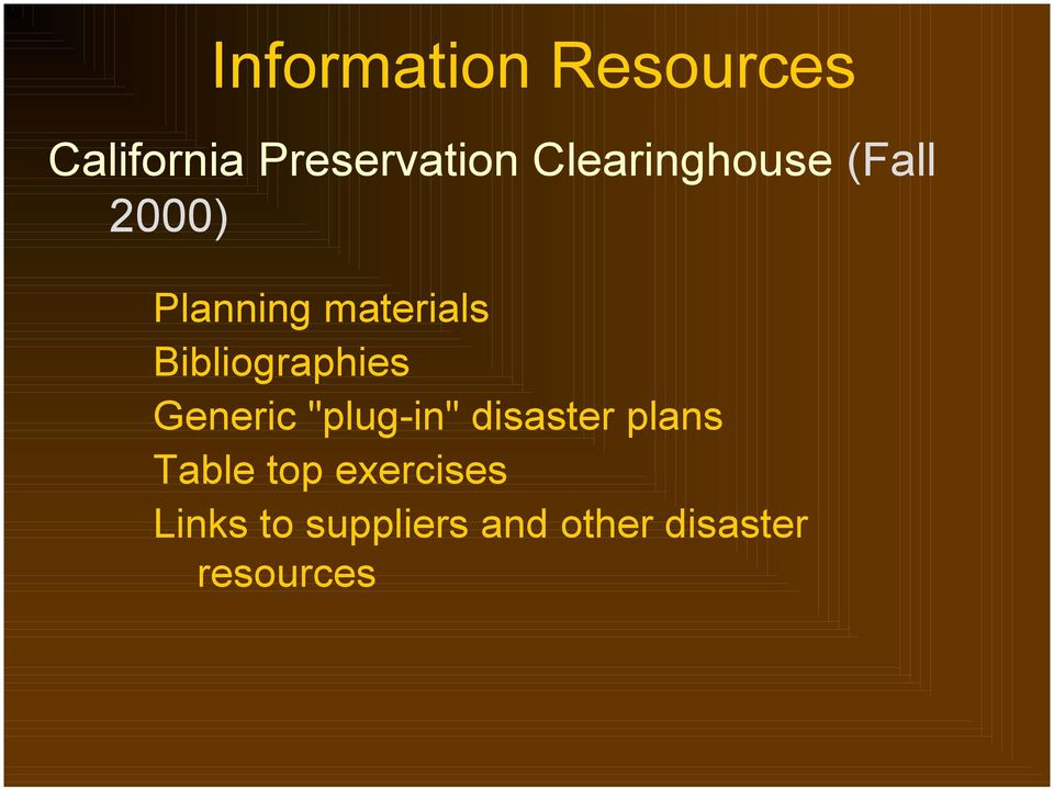 "Bibliographies Generic ""plug-in"" disaster plans"