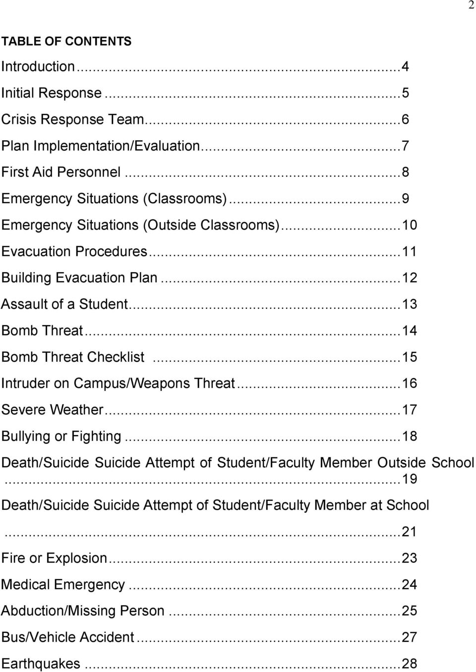 .. 15 Intruder on Campus/Weapons Threat... 16 Severe Weather... 17 Bullying or Fighting... 18 Death/Suicide Suicide Attempt of Student/Faculty Member Outside School.