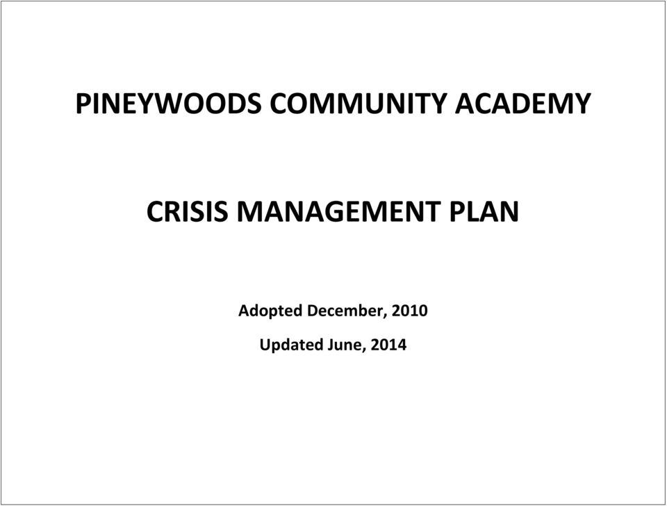 MANAGEMENT PLAN Adopted
