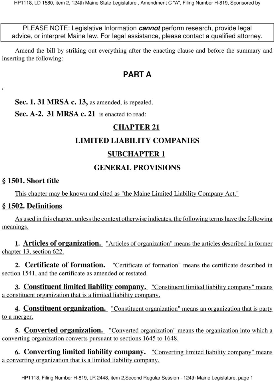 part a chapter 21 limited liability companies subchapter 1 general