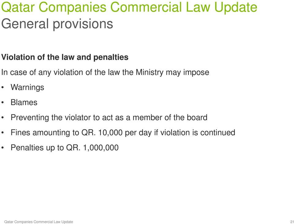 act as a member of the board Fines amounting to QR.