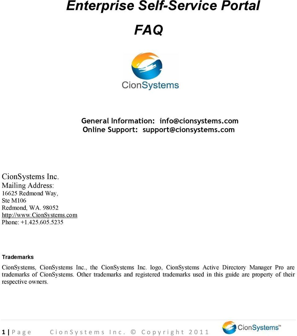 5235 Trademarks CionSystems, CionSystems Inc., the CionSystems Inc.