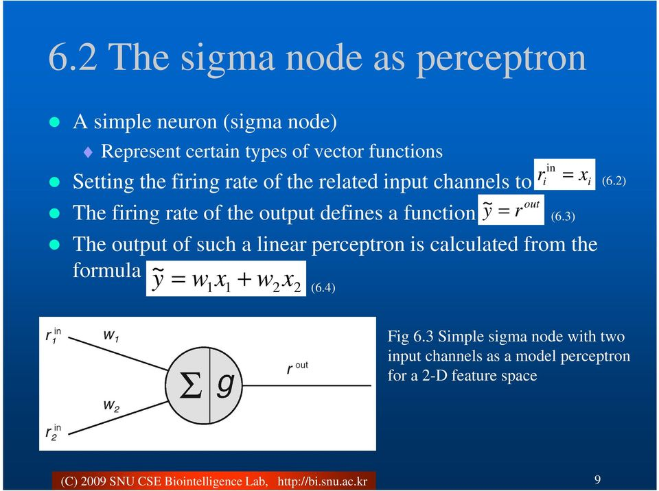 r The put of such a linear perceptron is calculated from the formula ~ y = w x + w x 1 1 2 2 (6.