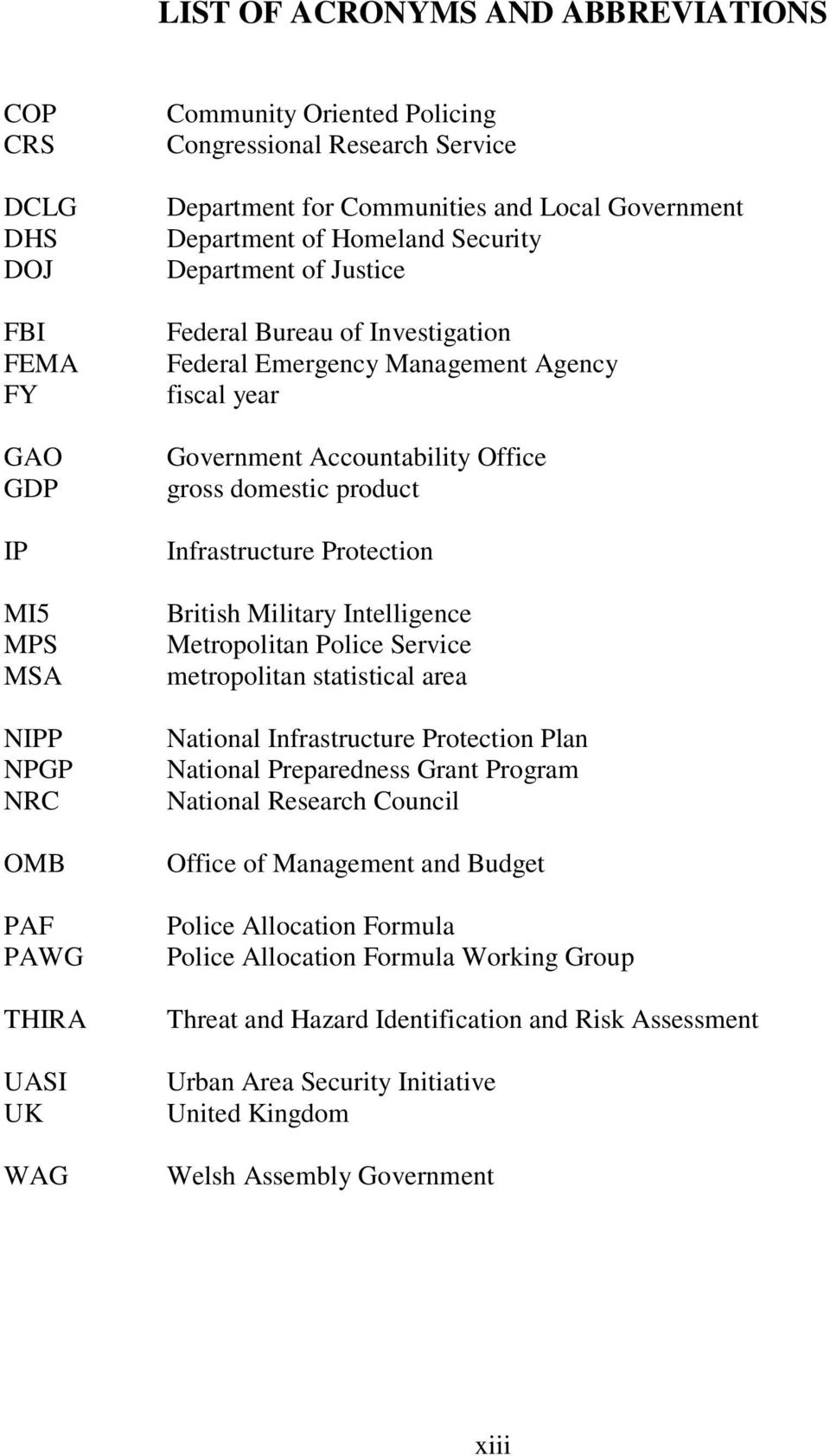 Accountability Office gross domestic product Infrastructure Protection British Military Intelligence Metropolitan Police Service metropolitan statistical area National Infrastructure Protection Plan