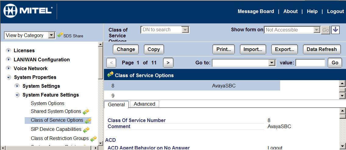 5.3.2. Class of Service Options 1. Navigate to System Properties-> System Feature Settings-> Class of Service Options. 2.