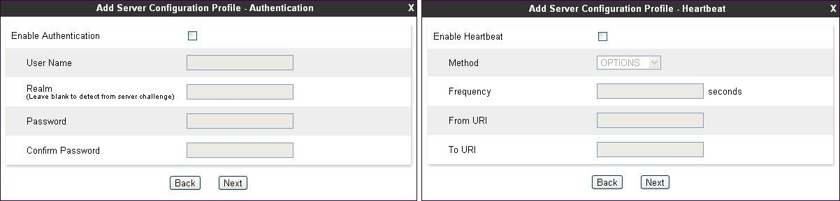 In the next two windows that appear, verify Enable Authentication and Enable Heartbeat are unchecked.