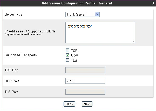 Note: The above configurations are as per the Server configuration profile in Avaya session border controller with SIP Test trunk Service with Transport and port number based on the provider.