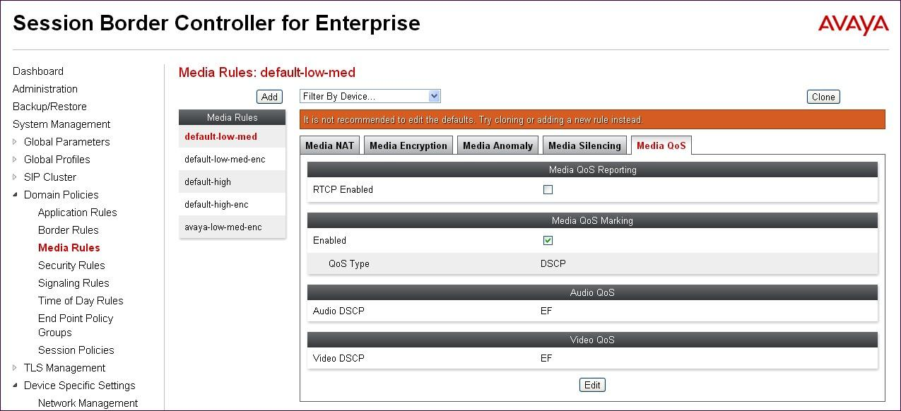 SBCE security product. Select Domain Policies Media Rules from the left-side menu as shown below.