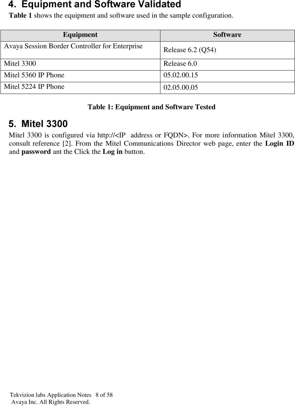 05.00.05 Table 1: Equipment and Software Tested 5. Mitel 3300 Mitel 3300 is configured via http://<ip address or FQDN>.