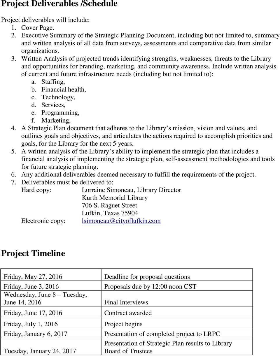 Example strategic plan cover letter