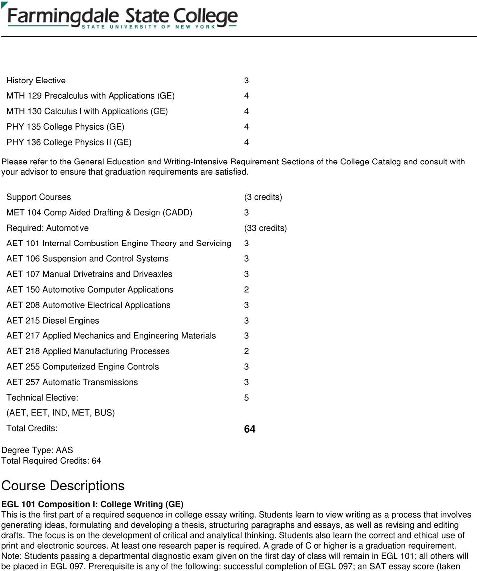 Support Courses MET 104 Comp Aided Drafting & Design (CADD) 3 Required: Automotive AET 101 Internal Combustion Engine Theory and Servicing 3 AET 106 Suspension and Control Systems 3 AET 107 Manual