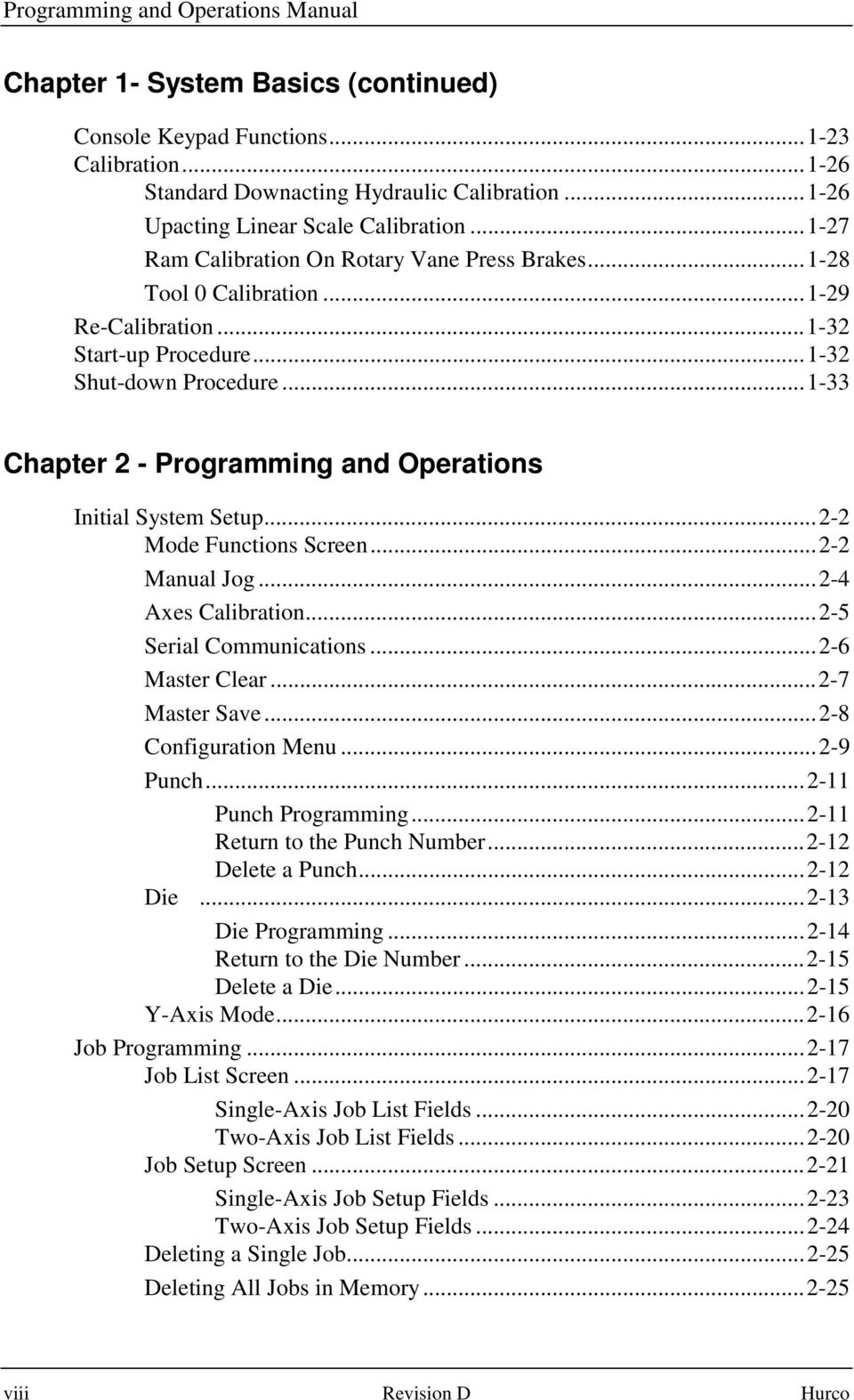 Programming and operations manual pdf for Punch list procedure