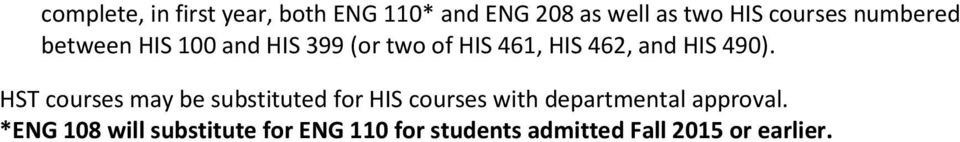 HST courses may be substituted for HIS courses with departmental approval.