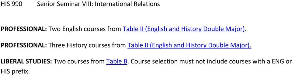 PROFESSIONAL: Three History  LIBERAL STUDIES: Two courses from Table B.