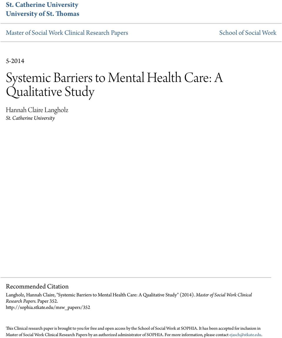 mental health research papers Patient safety in mental health research project lead  approximately 1500 papers were re-  in order for patient safety in mental health settings to improve,.