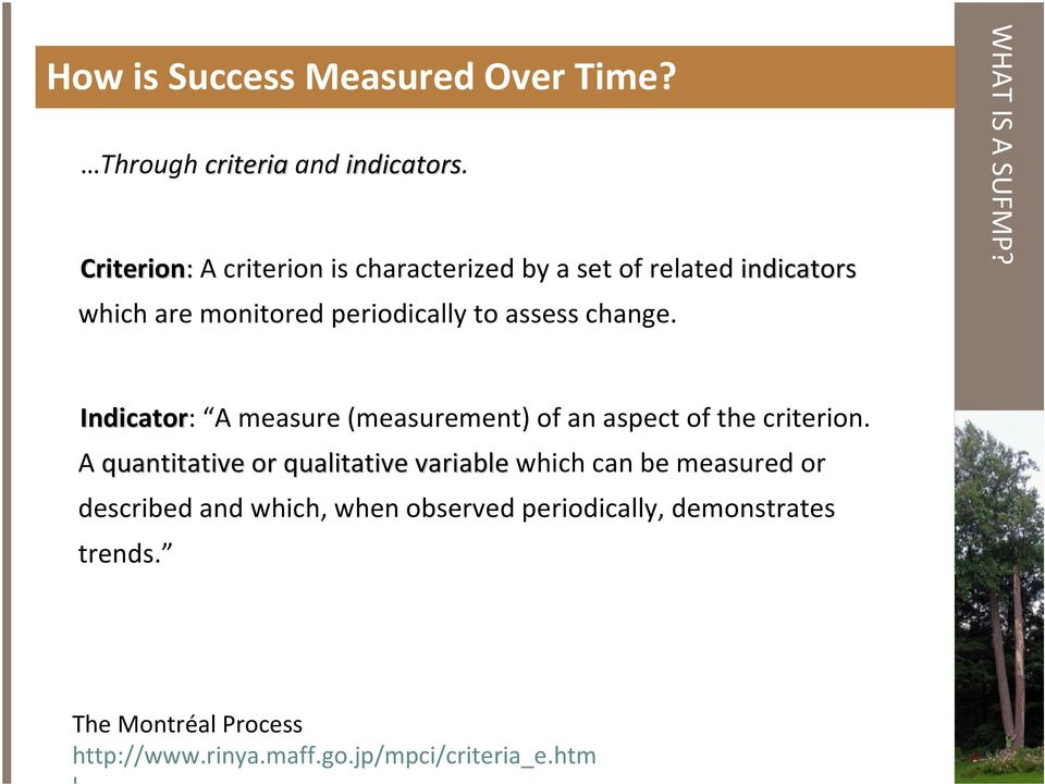 change. WHAT IS A SUFMP? Indicator: A measure (measurement) of an aspect of the criterion.