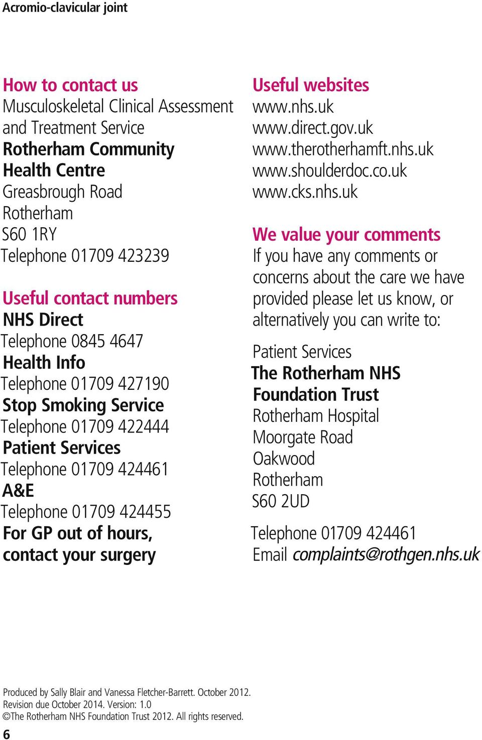 contact your surgery Useful websites www.nhs.