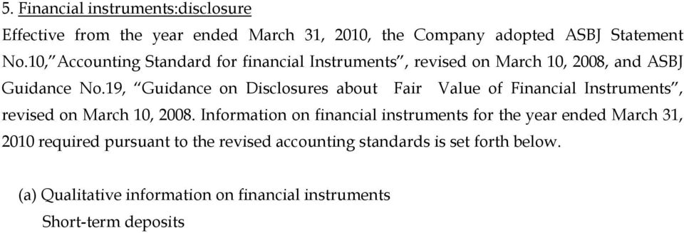 Information on financial instruments for the year ended March 31, 2010 required pursuant to the revised accounting standards is set forth below.