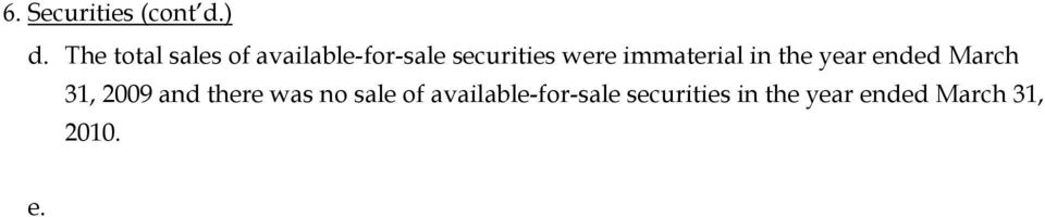 ded March 31, 2009 and there was no sale of available-for-sale securities in the year en